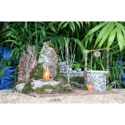 Hoguera con luz de llama, sobre corcho bornizo y pozo Medidas: 32x18x18