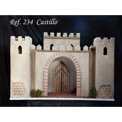 Castillo con tres torres y arco de entrada.