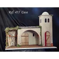 Casa con torre, modulo central con arco y modulo decorativo